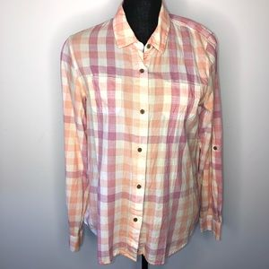 The North Face Pink Plaid Button Down Shirt Large